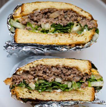 Hawaiian hamburger and melted cheese sandwich