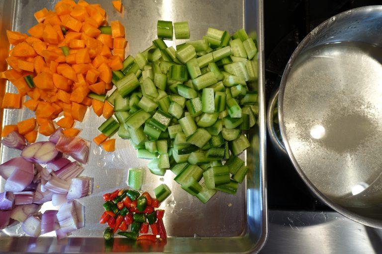 acar timun chopped vegetables