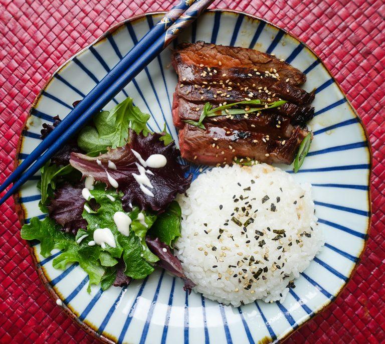 Japanese teriyaki flank steak