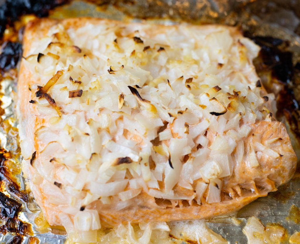 Garlic butter baked salmon fillet