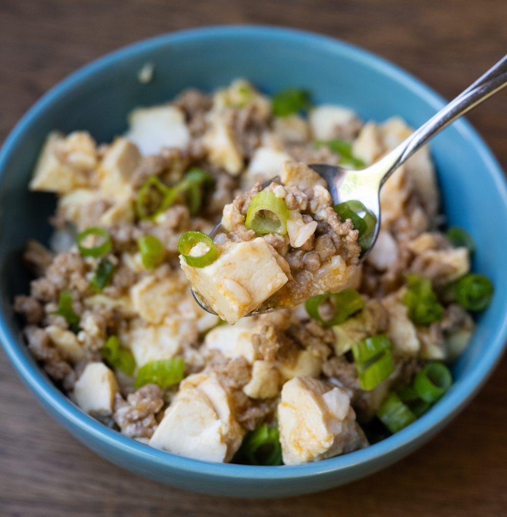 Ground pork mapo tofu spoon