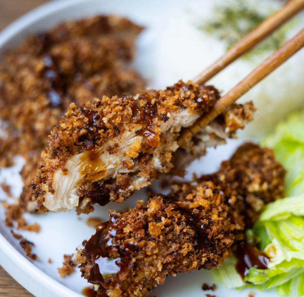Baked chicken katsu chopsticks